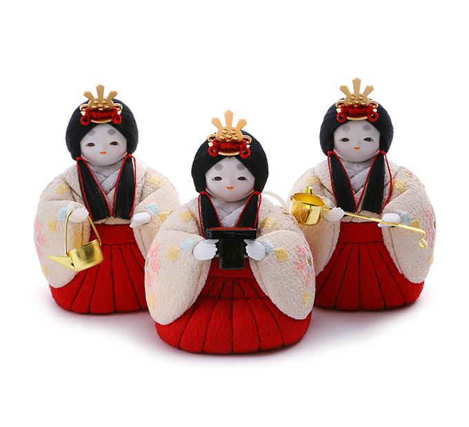 三人官女 京刺繍・雪の花