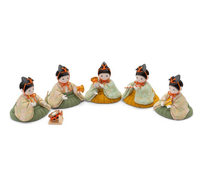 五人囃子 花に小鳥の丸紋