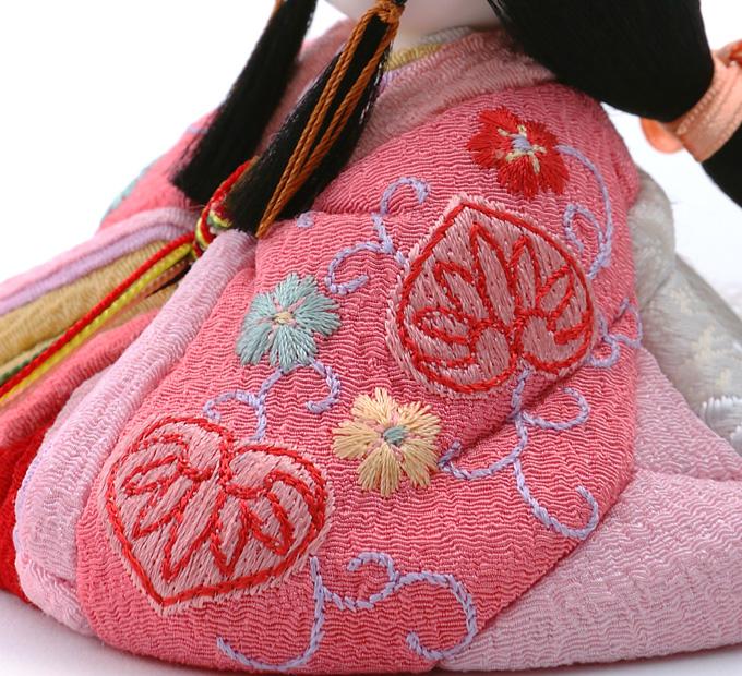 まいまい 京刺繍・葵に花・桃色
