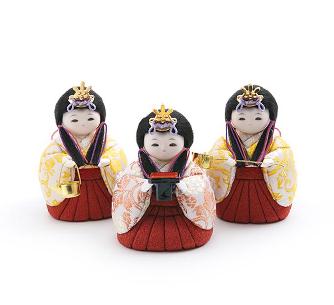 三人官女 牡丹唐草