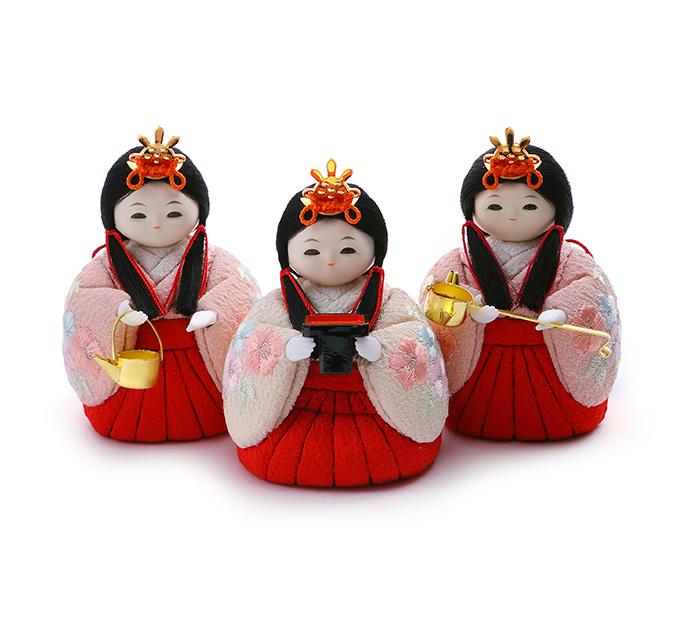 三人官女 京刺繍・扇に櫛
