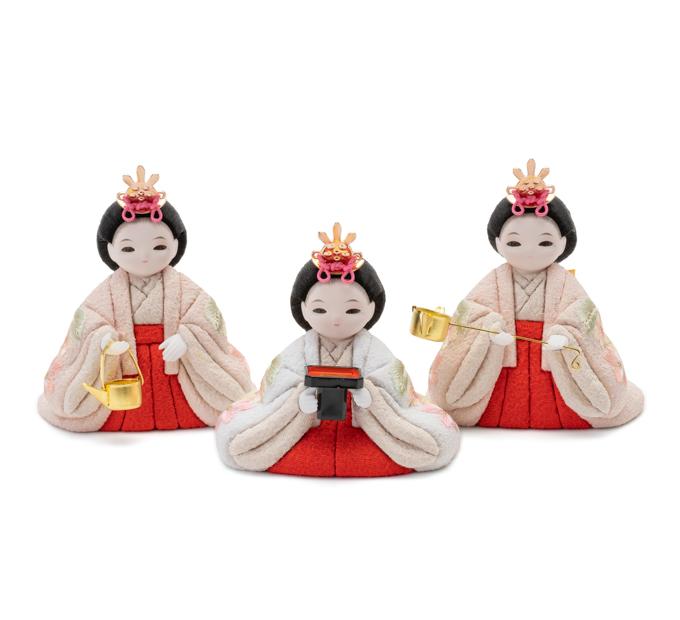 三人官女 京刺繍・桜色