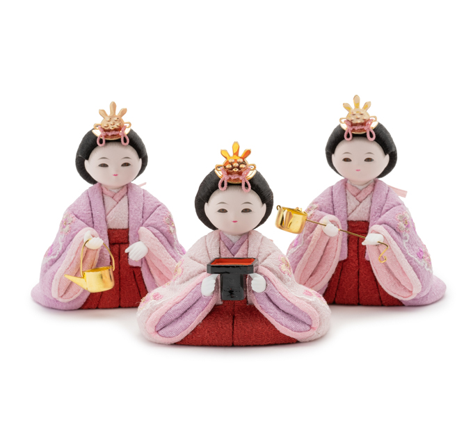 三人官女 京刺繍・雪輪に松竹梅